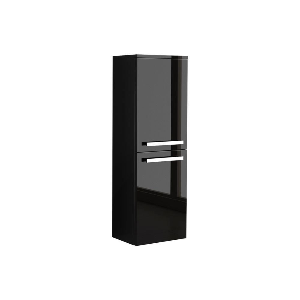 W Wall Mounted Linen Cabinet In Glossy Black