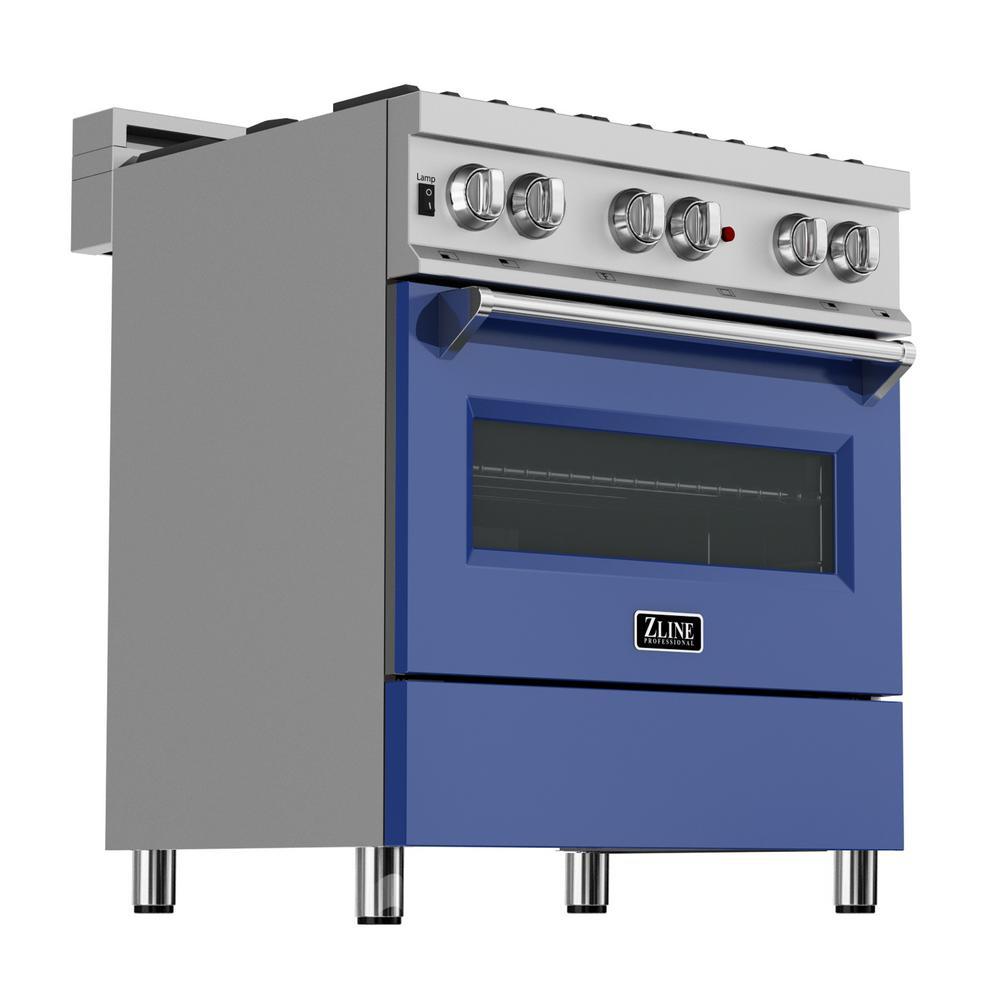 RG-BM-30 ZLINE 30 in Professional Gas on Gas Range in Stainless Steel with Blue Matte Door