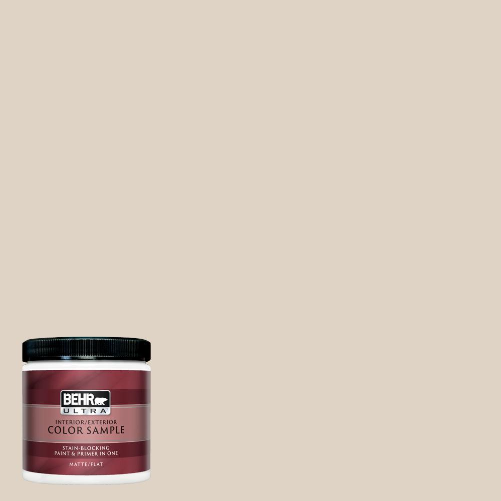 Behr Ultra 8 Oz Pwn 42 Parisian Taupe Matte Interior Exterior Paint And Primer In One Sample