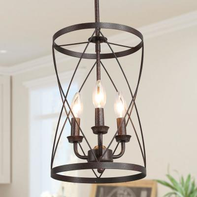 Onawa 3-Light Bronze Cage Foyer Hanging Lantern Pendant