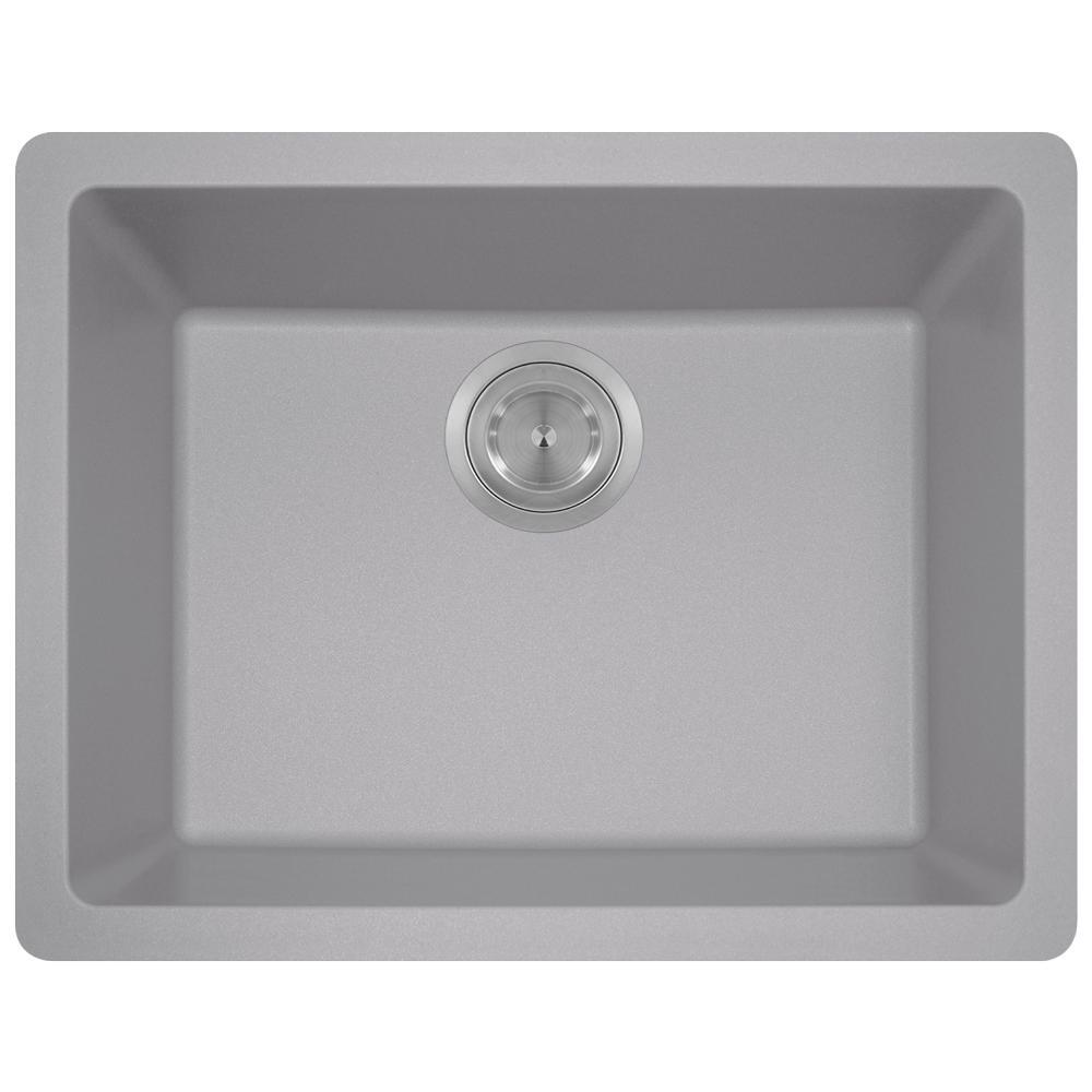 MR Direct Dualmount Granite Composite 22 In. Single Bowl Kitchen Sink In  Silver