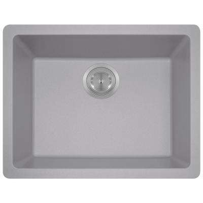 Dualmount Granite Composite 22 in. Single Bowl Kitchen Sink in Silver