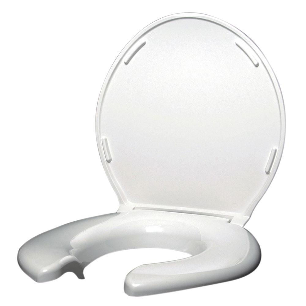 Big John Elongated Open Front Toilet Seat with Cover in White