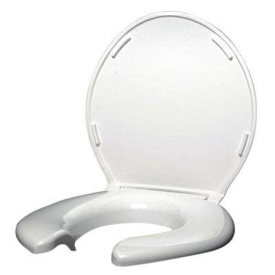 Elongated Open Front Toilet Seat with Cover in White