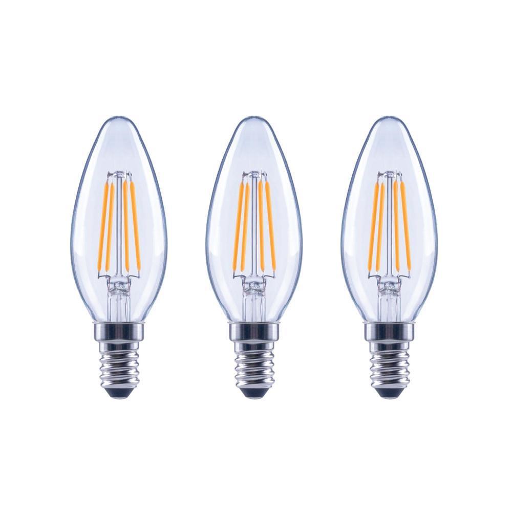 60-Watt Equivalent B11 Dimmable ENERGY STAR Clear Glass Filament Vintage Edison LED Light Bulb Soft White (3-Pack)
