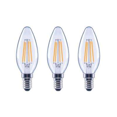 60-Watt Equivalent B11 Candle Dimmable Energy Star Clear Glass Filament Vintage LED Light Bulb Soft White (3-Pack)