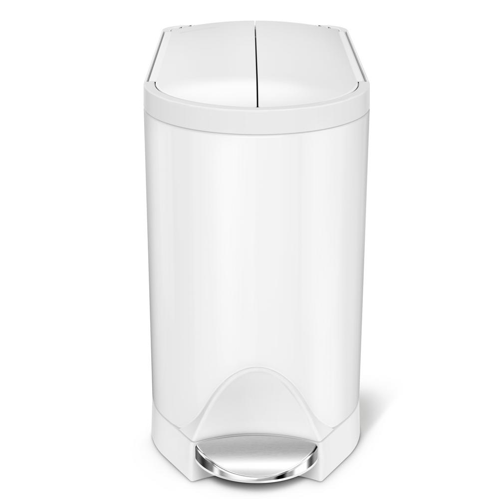 simplehuman 10 liter white stainless steel butterfly step on trash can cw2042 the home depot. Black Bedroom Furniture Sets. Home Design Ideas