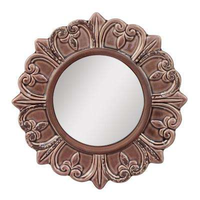9 in. H x 9 in. W Gray Ceramic Distressed Round Mirror