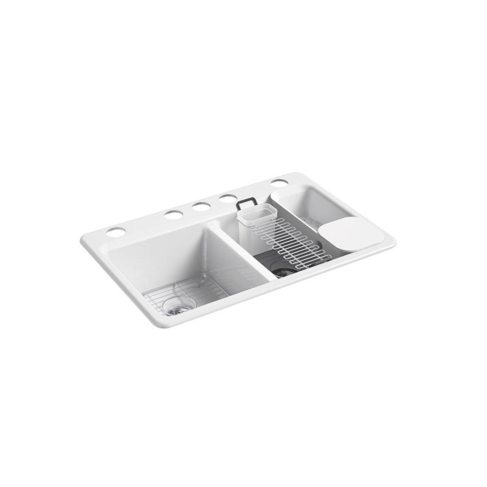 KOHLER Riverby Undermount Cast Iron 33 in. 5-Hole Double Bowl ...