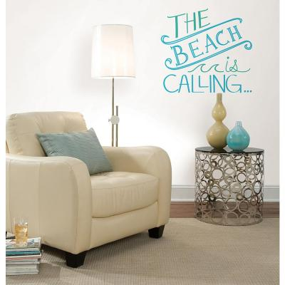 19.5 in. x 17.25 in. Beach is Calling Wall Decal