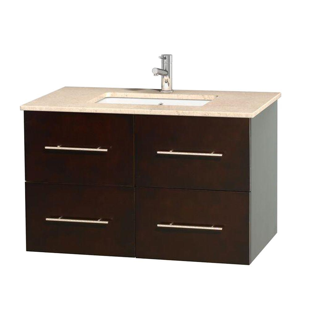 Wyndham Collection Centra 36 in. Vanity in Espresso with Marble Vanity Top in Ivory and Undermount Sink