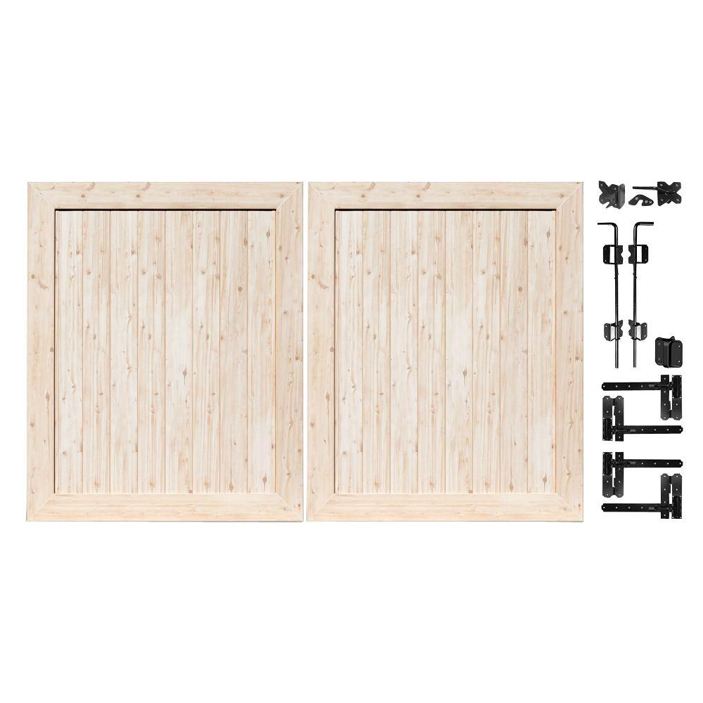 Veranda Pro Series 5 ft. W x 6 ft. H White Cedar Vinyl Anaheim Privacy Double Drive Through Fence Gate