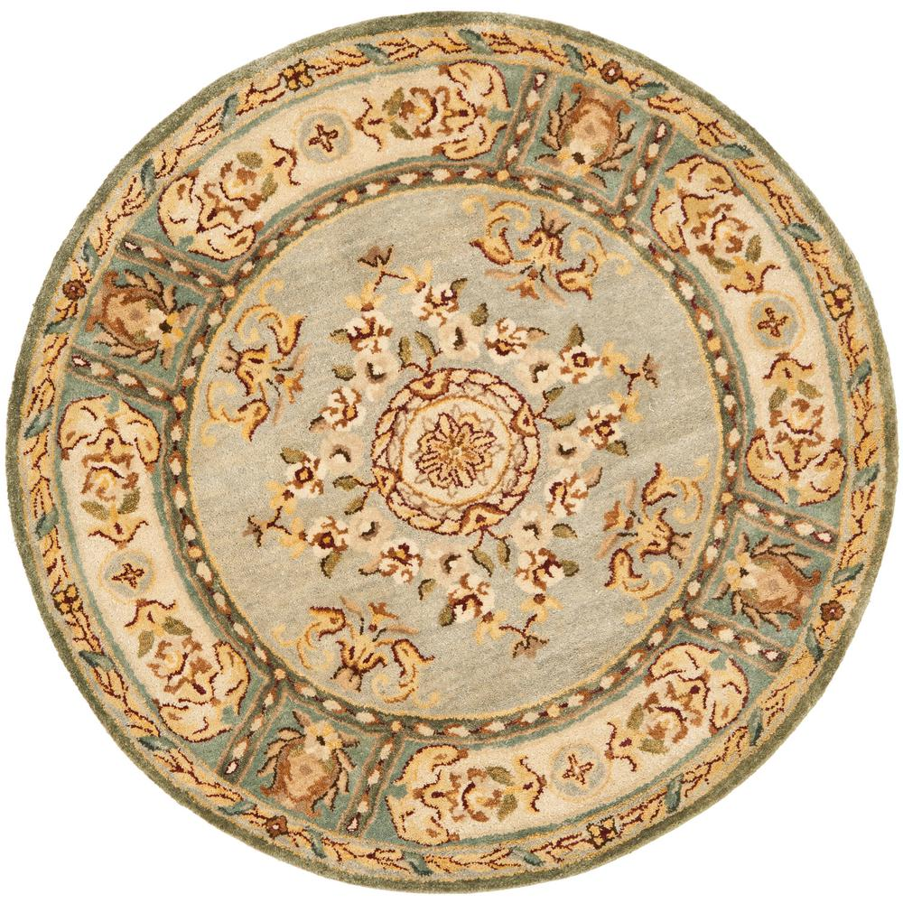 Bergama Light Blue/Ivory 6 ft. x 6 ft. Round Area Rug