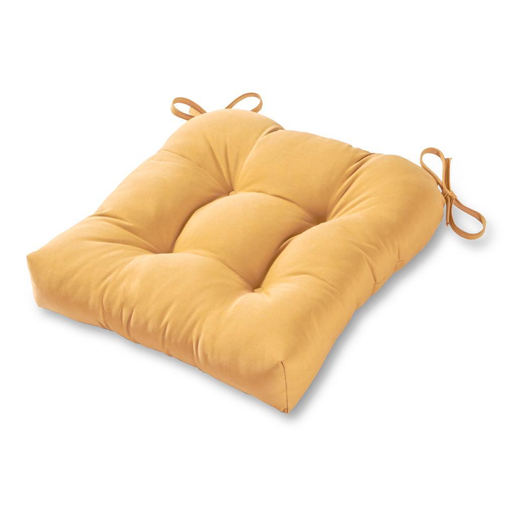 Greendale Home Fashions Solid Wheat Sunbrella Fabric Square Tufted Outdoor  Seat Cushion
