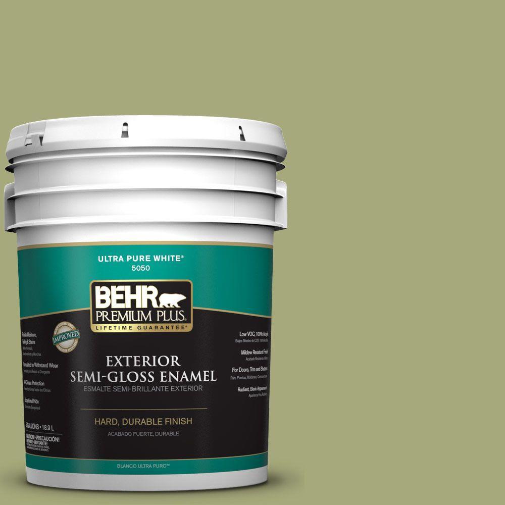 BEHR Premium Plus 5-gal. #M350-5 Mossy Cavern Semi-Gloss Enamel Exterior Paint