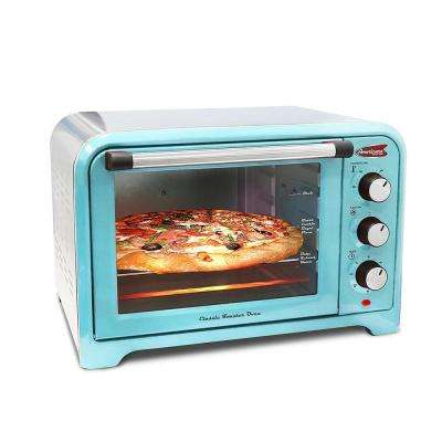 6 Slice of Bread or 12 in. Pizza Retro Blue Toaster Oven