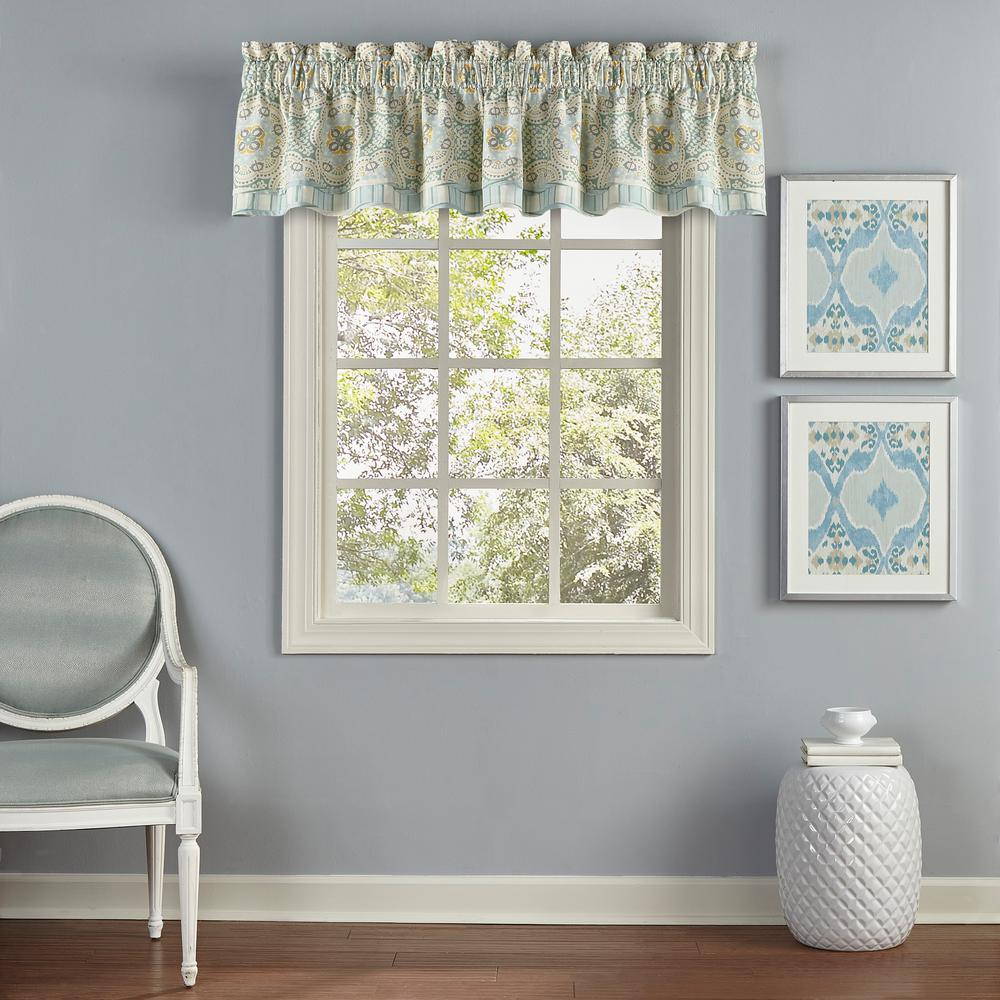 Valances Window Treatments L Cotton Window Valance in Mineral (1-Pack)