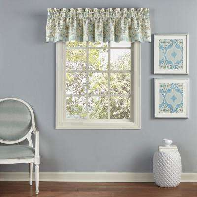 16 in. L Cotton Window Valance in Mineral (1-Pack)