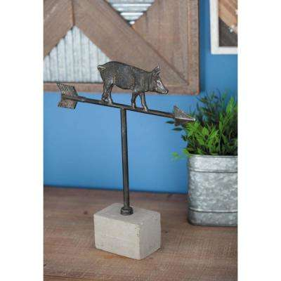13 in. x 11 in. Pig Weathervane Decorative Sculpture in Black and White