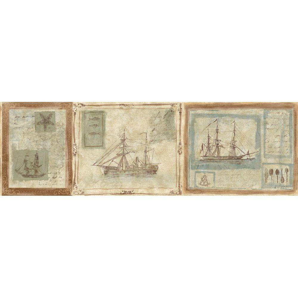 The Wallpaper Company 8.5 in. x 15 ft. Beige Earth Tone Nautical Ships Border