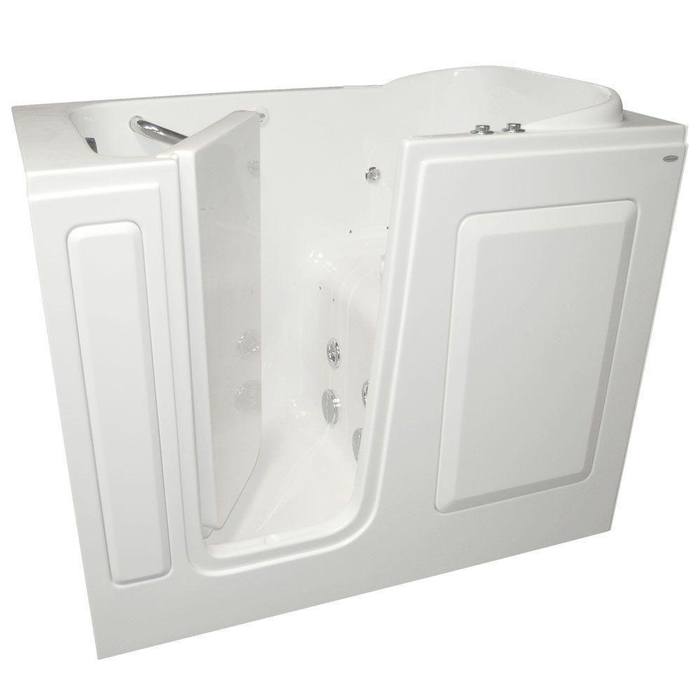Gelcoat 4 ft. Left Quick Drain Walk-In Whirlpool and Air Bath