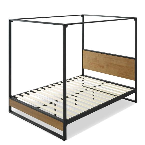 Suzanne Brown Metal and Wood Full Canopy Platform Bed Frame