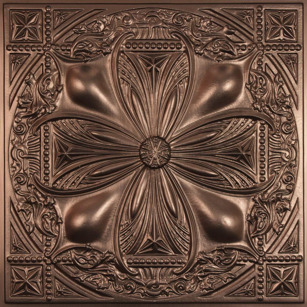 Ceilume Avalon Faux Bronze 2 ft. x 2 ft. Lay-in or Glue-up Ceiling Panel (Case of 6)
