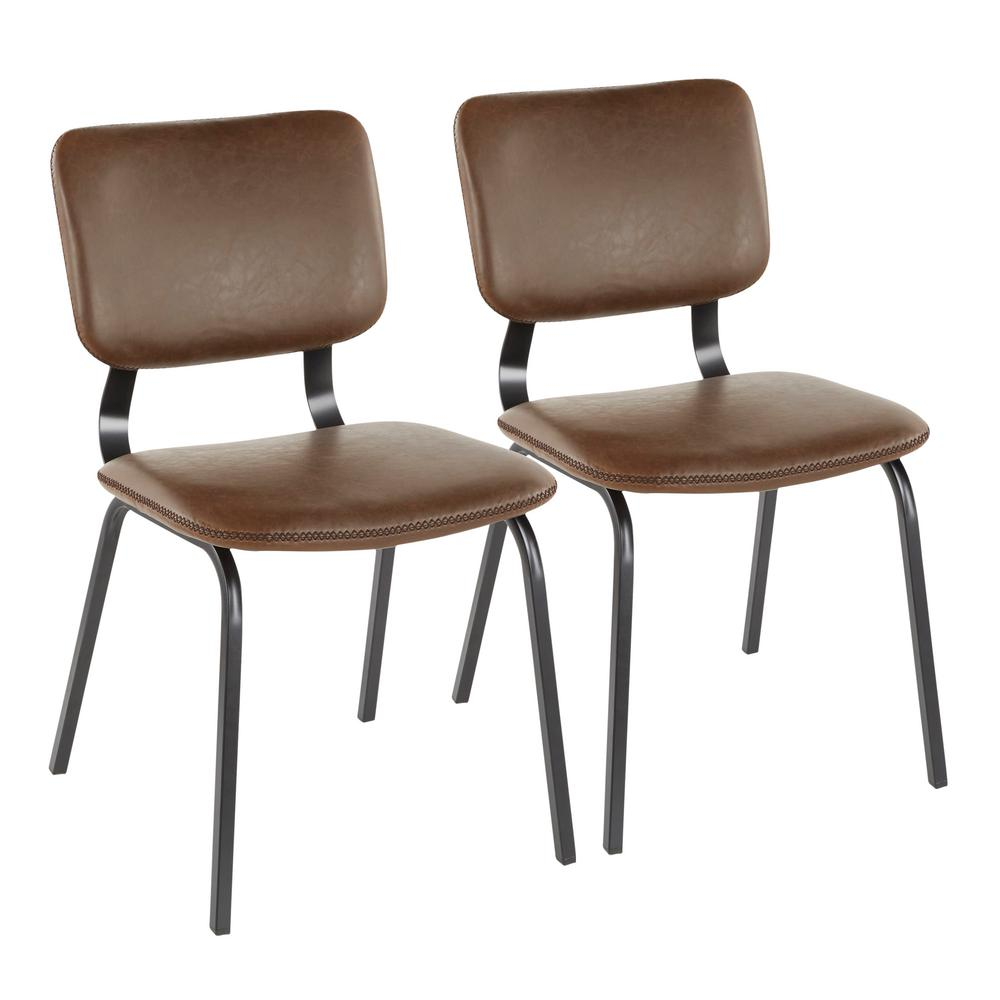Foundry Espresso Faux Leather Chair with Brown Stitching (Set of 2)
