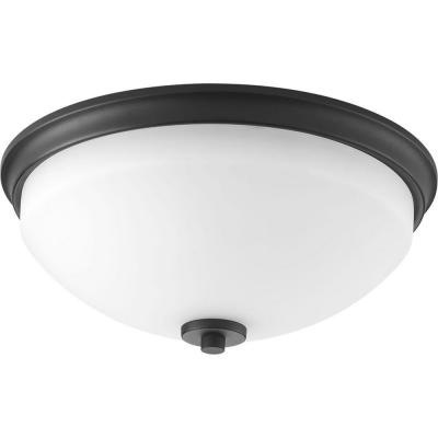 Replay 2-Light Black Flush Mount with Etched White Glass