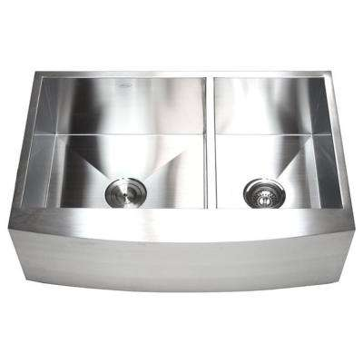 Farmhouse Curve Apron Front Stainless Steel 33 in. x 21 in. x 10 in. 16-Gauge Double 60/40 Bowl Zero Radius Kitchen Sink