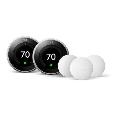 Smart Learning Wi-Fi 24-Day Programmable Thermostat, 3rd Gen, Polished Steel 2-Pack with Temperature Sensor 3-Pack