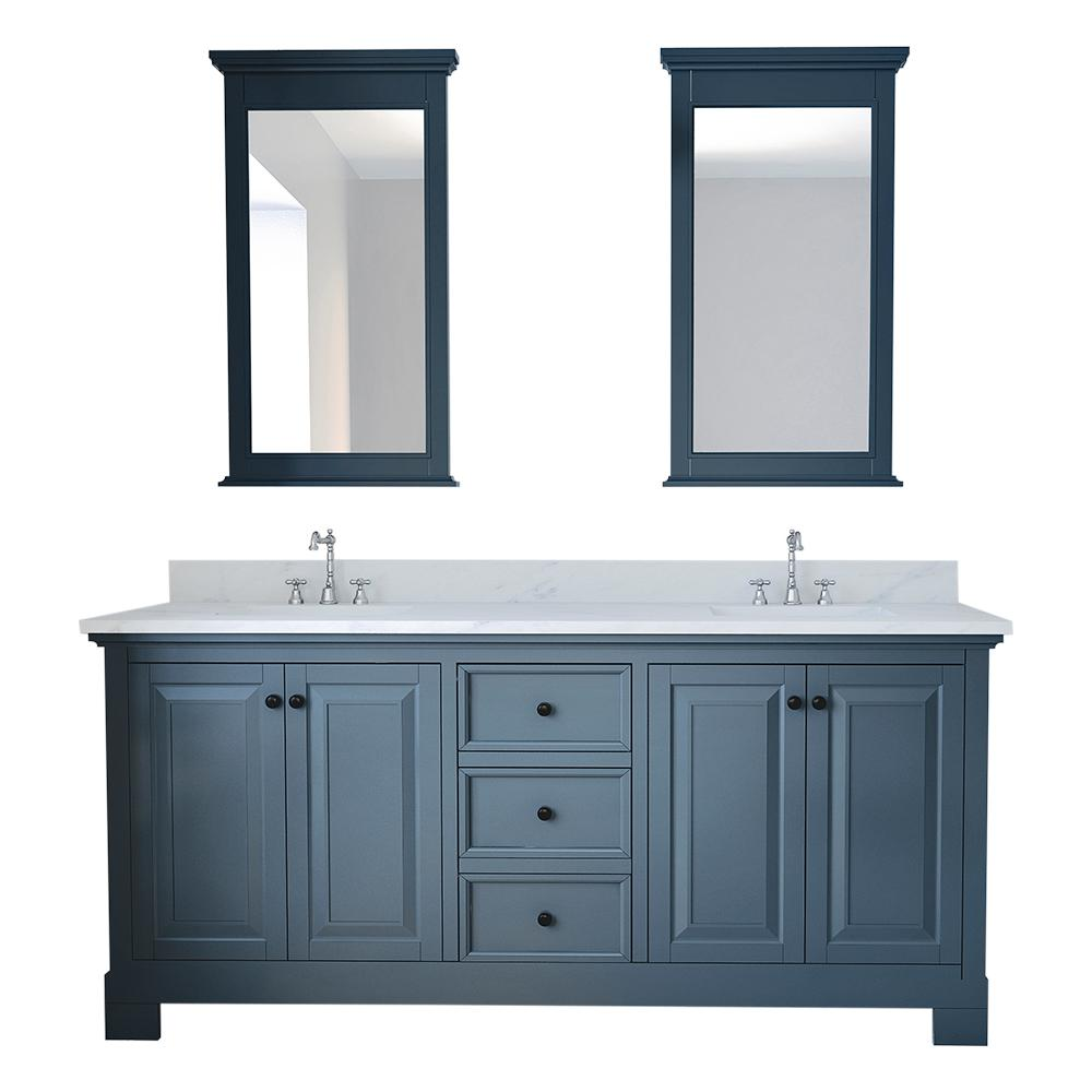 Design Element Eastwood 72 in. W x 22 in. D Bath Vanity in Gray with Marble Vanity Top in White with White Basin and Mirror