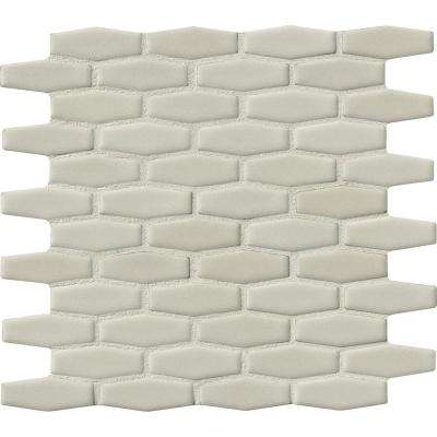 Antique White Elongated Hexagon 12 in. x 12 in. x 8 mm Glazed Ceramic Mesh-Mounted Mosaic Wall Tile