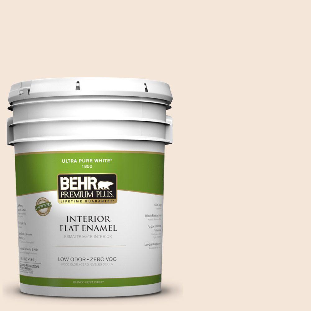 BEHR Premium Plus 5-gal. #280E-1 Heirloom Lace Zero VOC Flat Enamel Interior Paint-DISCONTINUED