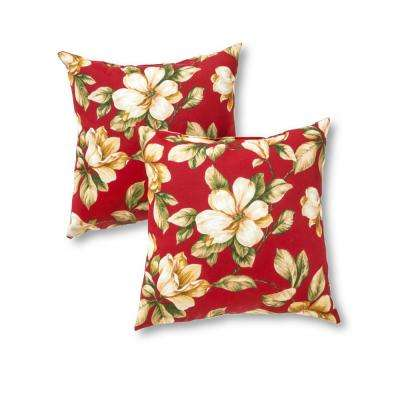 Roma Floral Square Outdoor Throw Pillow (2-Pack)