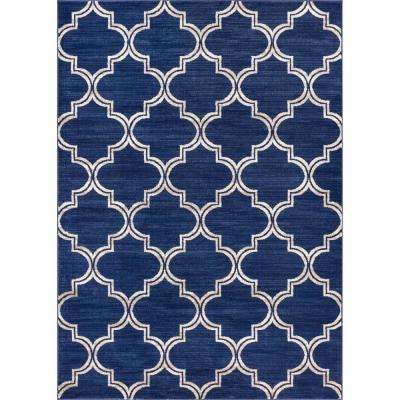 New Age Jaclyn Blue 7 ft. 10 in. x 9 ft. 10 in. Modern Moroccan Trellis Distressed Ombre Area Rug