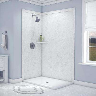 Elegance 36 in. x 48 in. x 80 in. 7-Piece Easy Up Adhesive Corner Shower Wall Surround in Frost