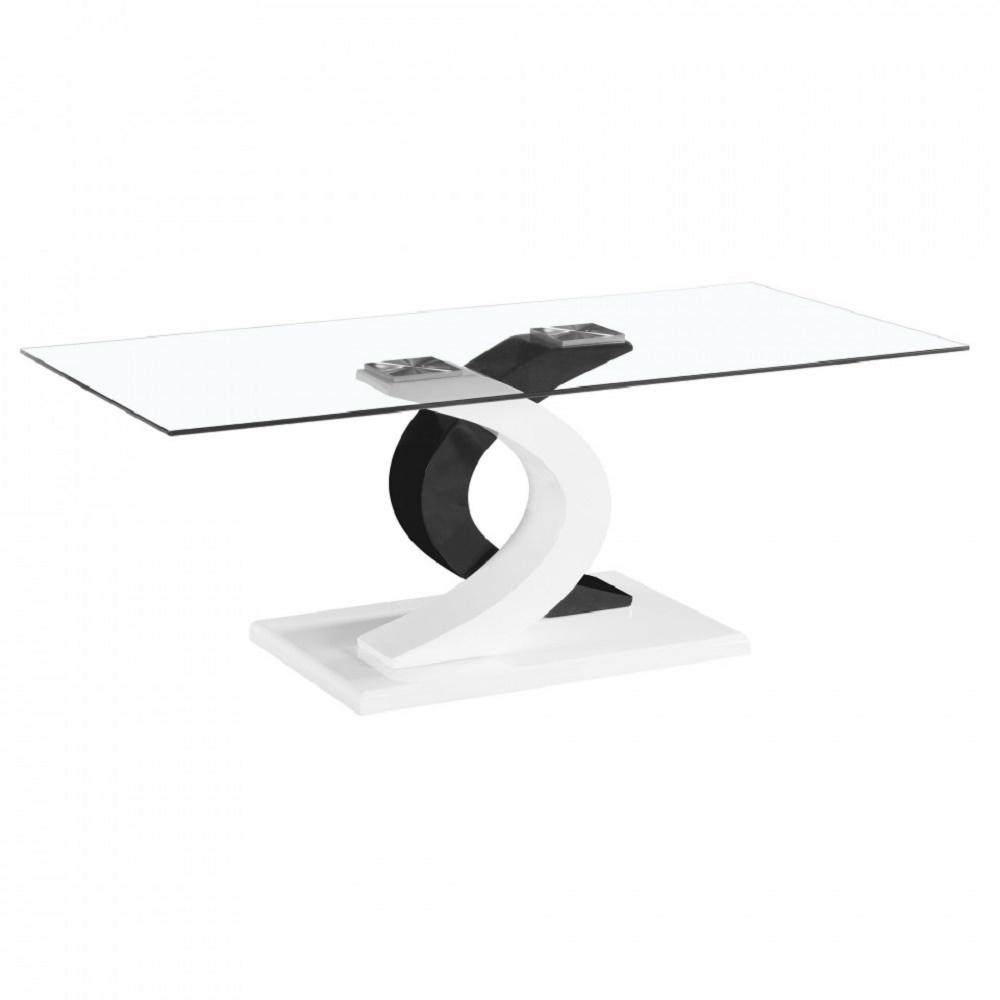 Fab Gl And Mirror Milano Coffee Table With Stylish Black White High Glossy Base