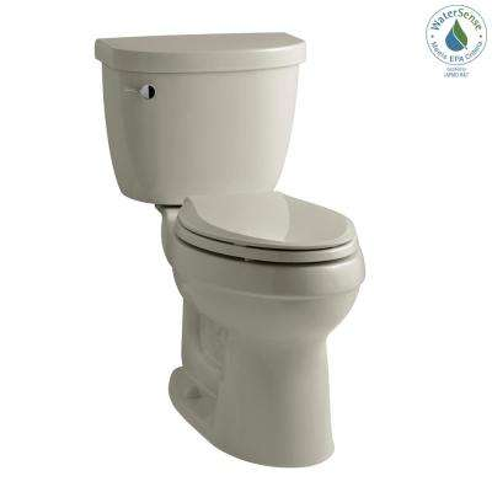 Cimarron 2-piece 1.28 GPF Single Flush High Efficiency Elongated Toilet with AquaPiston Flushing Technology in Sandbar