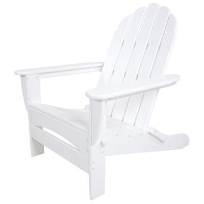 Classic White Oversized Curveback Plastic Patio Adirondack Chair