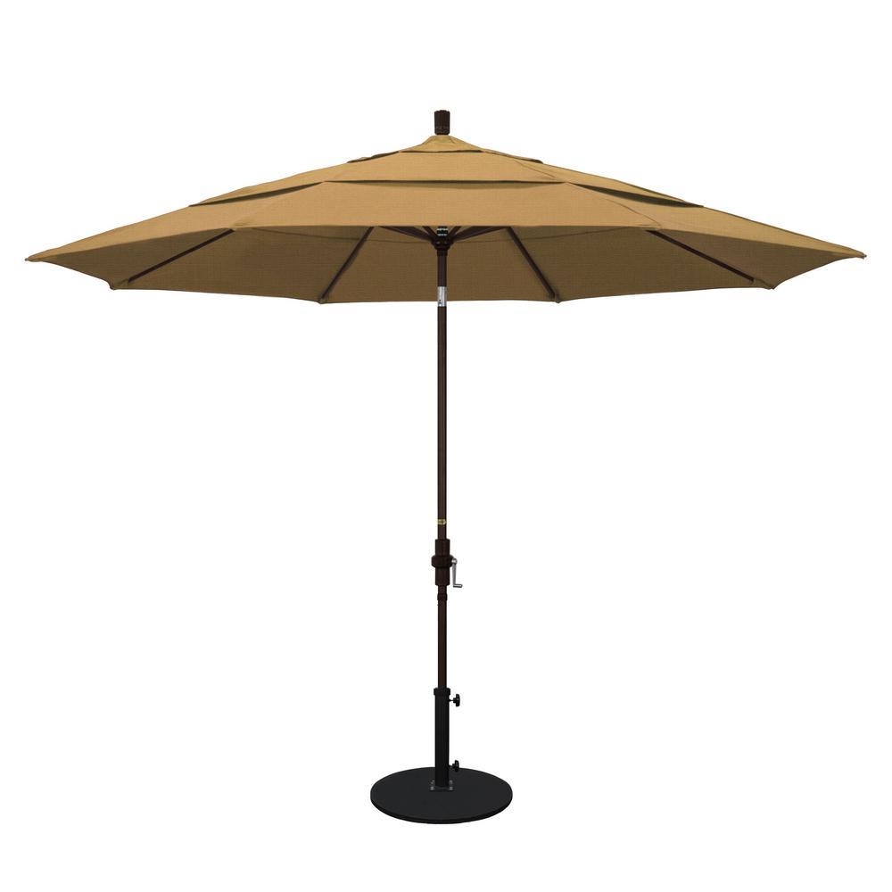 11 ft. Aluminum Collar Tilt Double Vented Patio Umbrella in Straw