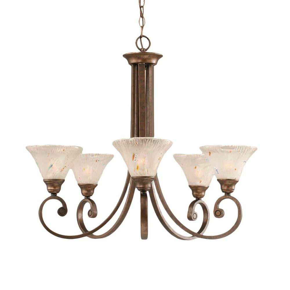 Concord 5-Light Bronze Chandelier with Frosted Crystal Glass