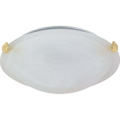 2-Light Polished Brass 1-Flush Mount TriClip with Alabaster Glass