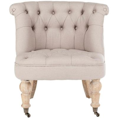 Baby Taupe Linen Accent Chair