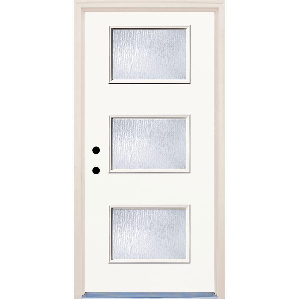 36 in. x 80 in. Classic Right-Hand 3-Lite Rain Glass Painted
