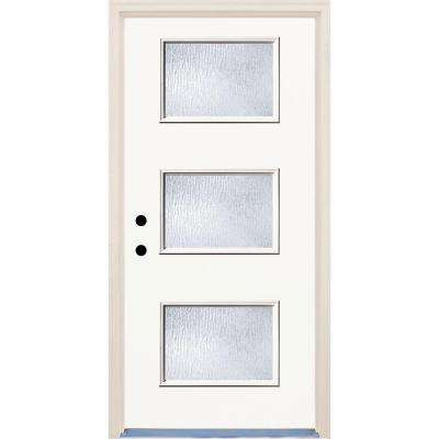 36 in. x 80 in. Classic Right-Hand 3-Lite Rain Glass Painted Fiberglass Prehung Front Door with Brickmould