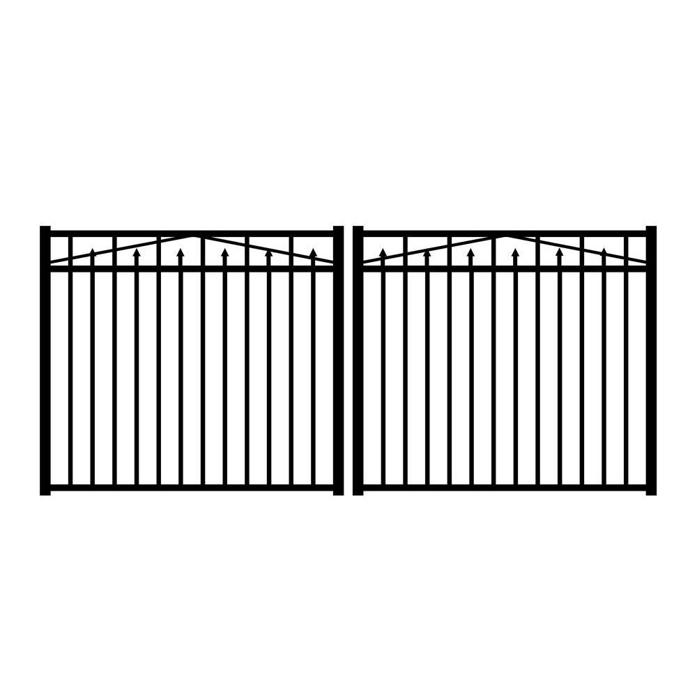 Adams 10 ft. W x 4.5 ft. H Black Aluminum 3-Rail Double Drive Fence Gate