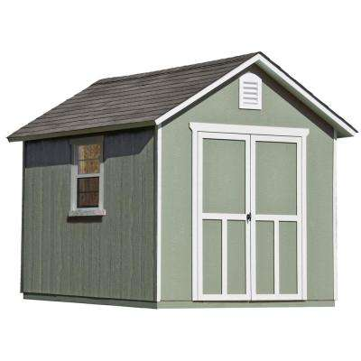 Installed Meridian 8 ft. x 10 ft. Wood Storage Shed with Driftwood Shingles