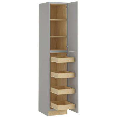 Tremont Assembled 18x96x24 in. Plywood Shaker Utility Kitchen Cabinet Soft Close Right 4 rollouts in Painted Pearl Gray