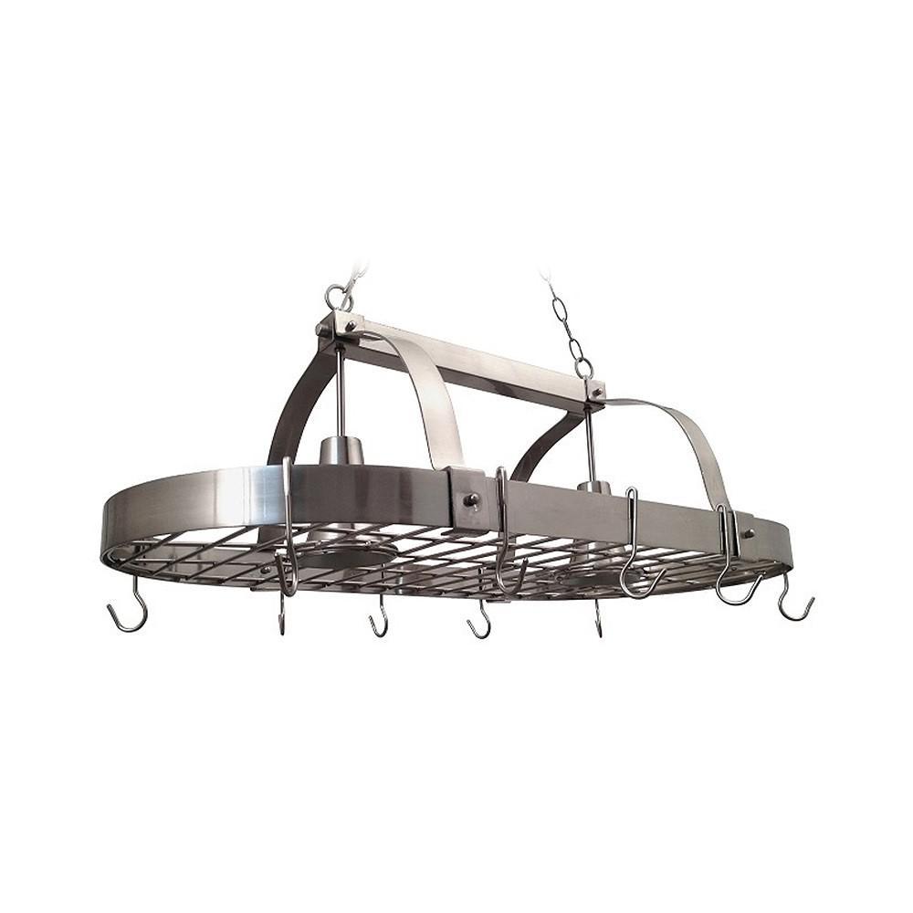 2-Light Brushed Nickel Kitchen Pot Rack Light with Hooks